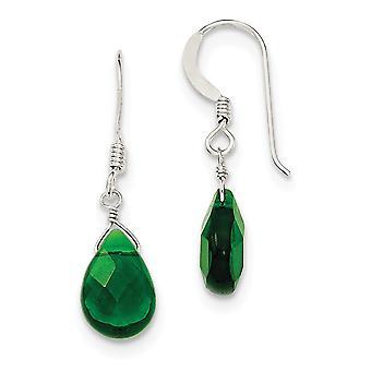 925 plata esterlina pastor gancho verde oscuro cristal largo gota colgante pendientes regalos de joyería para las mujeres