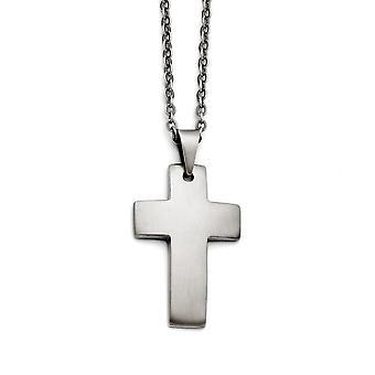 Stainless Steel Graveable Fancy Lobster Sluiting Geborsteld religieuze geloof kruis ketting 20 inch sieraden geschenken voor vrouwen