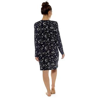 Ladies 100% Cotton Star Gazer Print Nightdress Nighty Sleepwear