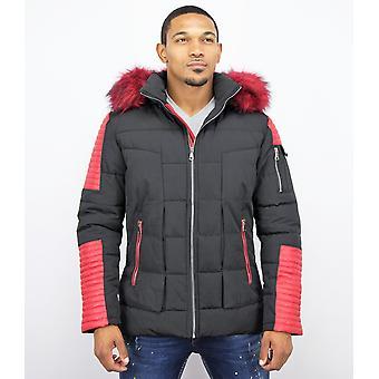 Men's Winter Coat – With Art Fur Collar – Black