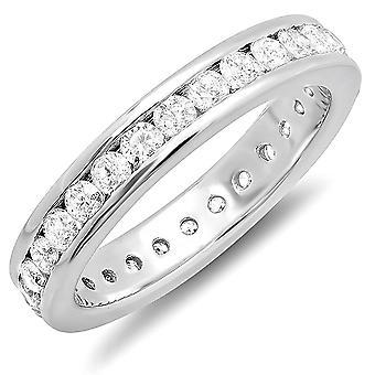 Dazzlingrock Collection 1.75 Carat (ctw) 14k Round Diamond Ladies Eternity Stackable Anniversary Wedding Band, White Gold