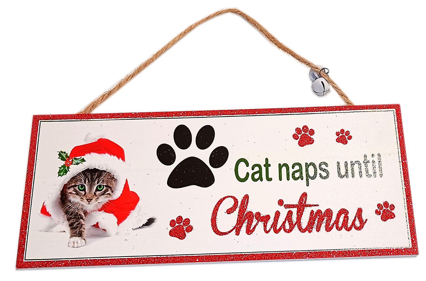 Santa Paws Oblong Plaque Cat - Cat Naps until Christmas