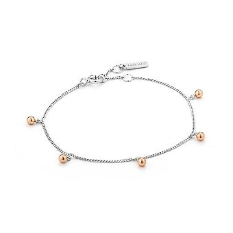 Ania Haie Rhodium Plated With Rose GoldOrbit Drop Balls BraceletB001-01T