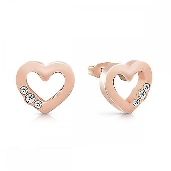 Guess Jewellery Guess Small Rose Gold Heart Frame Crystal Studs UBE78059