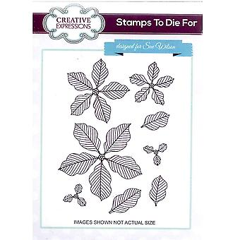 Creative Expressions Cling Stamp - Stamps To Die For Pinstriped Poinsettias- UMS576