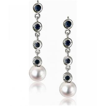 Luna-Pearls Akoyaperlen Studs with Sapphires