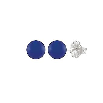 Eternal Collection Solo Blue Onyx Semi Precious Sterling Silver Stud Pierced Earrings