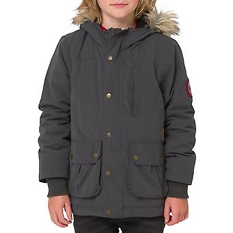 Animal Boys Pole Zip Up Sherpa Lined Long Sleeve Hooded Parka Jacket Coat - Grey