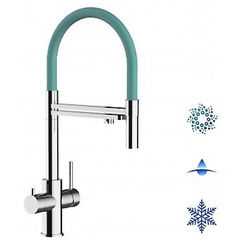 5-way Inox Filter Tap Turquoise Spout And 2 Jets Spray, Ideal For Sparkling, Plain And Cooled Water Systems - Polished - 441