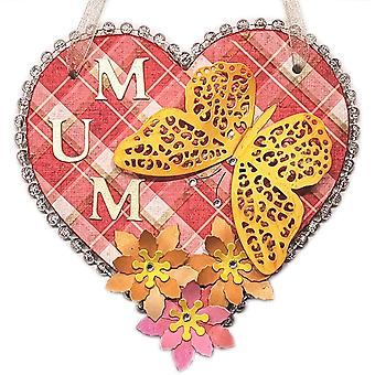 Butterfly Mum Hanging Heart Wall Plaque by Lilypond Crafts