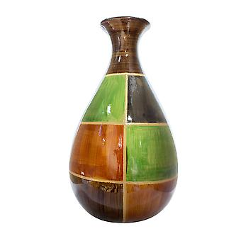 """9"""" X 6.25"""" X 18.5"""" Brown Green Copper Gold Ceramic Lacquered Modern Vase"""