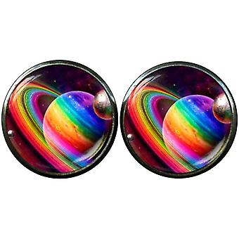 Bassin and Brown Planets and Rings Cufflinks - Multi-colour