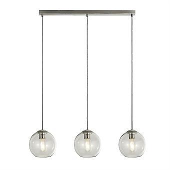 Searchlight pendler 3 lys vedhæng bar satin sølv, glas nuance 1623-3CL