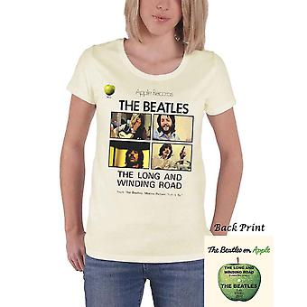 The Beatles T Shirt Long And Winding Road Official Womens New Cream Skinny Fit