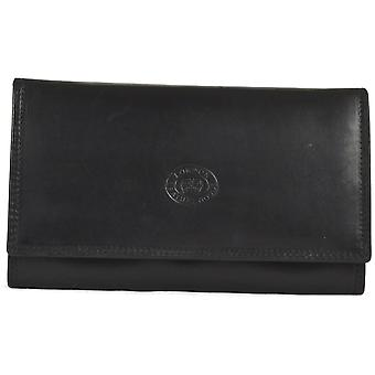Ladies Soft Real Nappa Leather Long Flap-over Purse (Black)