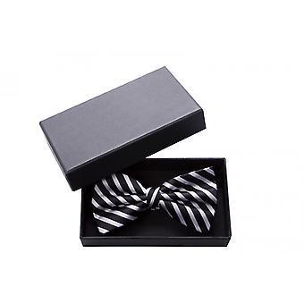 Butterfly sort hvid skinnende stribet bue designer Fabio Farini querbinder