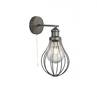 Searchlight Balloon Cage 1 Light Cage Wall Light Silver 1380PW