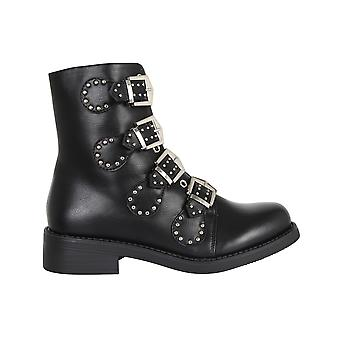 Women Ladies Buckle Ankle Boots Military Army Winter Biker Shoes Combat Size