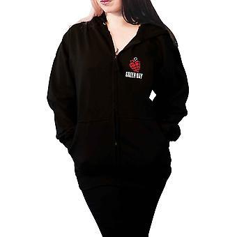 Groene dag hoodie American Idiot band logo officiële Womens zwart zipped slim fit