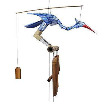 Happy Blue Bird Bobbing Head Wind Chime