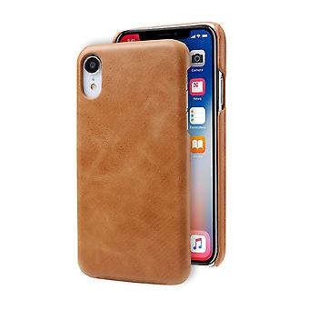 For iPhone XR Case Brown Modern Genuine Leather Back Shell Cover