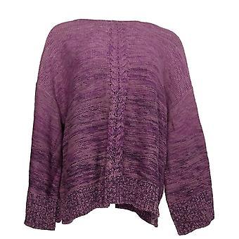 Estilo & Co. Women's Plus Sweater Marl Braid Pull-Over Purple