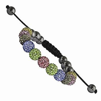 Slip on Adjustable 10mm Multicolored Crystal and Hematite Beads Black Cord Bracelet Jewelry Gifts for Women