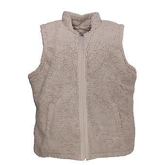 Denim & Co. Women's Plus Rev Quilted / Sherpa Zip-Front Vest Beige A372290