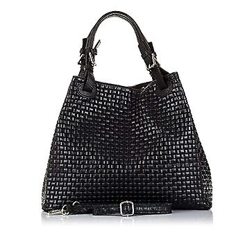 FLORENCE ARTEGIANI. Real leather woman bag. Tote leather bag authentic engraved snake. Shoulder handle and shoulder bag. MADE IN ITALY. REAL ITALIAN SKIN. 33 x 29 x 17 cm. Color: Black