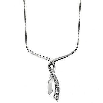 P halssmykke tillante slips i sølv rhodi