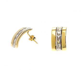 Eternity 9ct Gold 6 Cubic Zirconia Set Band Stud Earrings
