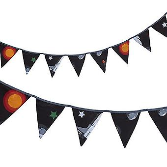 Ready Steady Bed� Fabric Bunting Flags Banner | Printed Polycotton Party and Bedroom Decoration for Kids | Birthday Bunting for Girls or Boys | 3 Metres (Galaxy)