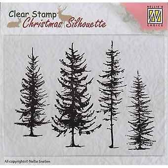 Nellie's Choice Christmas Silhouette Clear stamps pine trees CSIL004 96x70mm