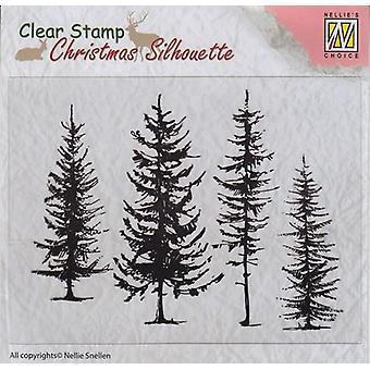 Nellie's Wahl Weihnachten Silhouette klare Briefmarken Kiefern CSIL004 96x70mm