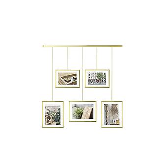 Umbra Exhibit Adjustable Multi Photo Display Frame - Brass
