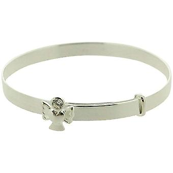 Jo For Girls Sterling Silver April Clear Simulated Birthstone Angel Bangle