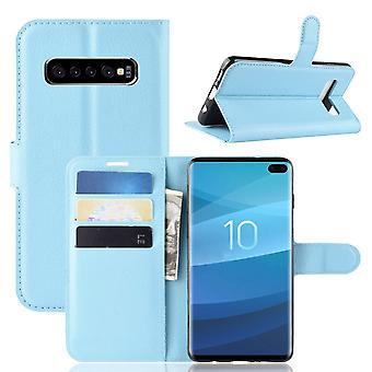 Per Samsung Galaxy S10 Case, Portafoglio Pelle Folio Flip Cover con Stand Blue