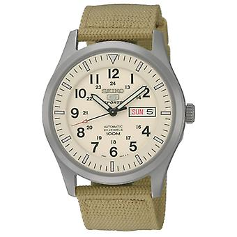 Seiko 5 Sports Automatic Cream Dial Canvas Strap Men's Watch SNZG07K1