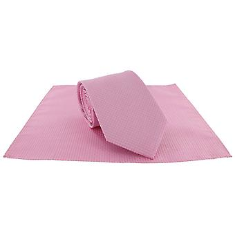 Michelsons of London Semi Plain Tie and Pocket Square Set - Pink