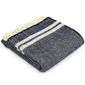 Tweedmill Pure New Wool Fishbone 2 Stripe Navy & Silver Grey Throw
