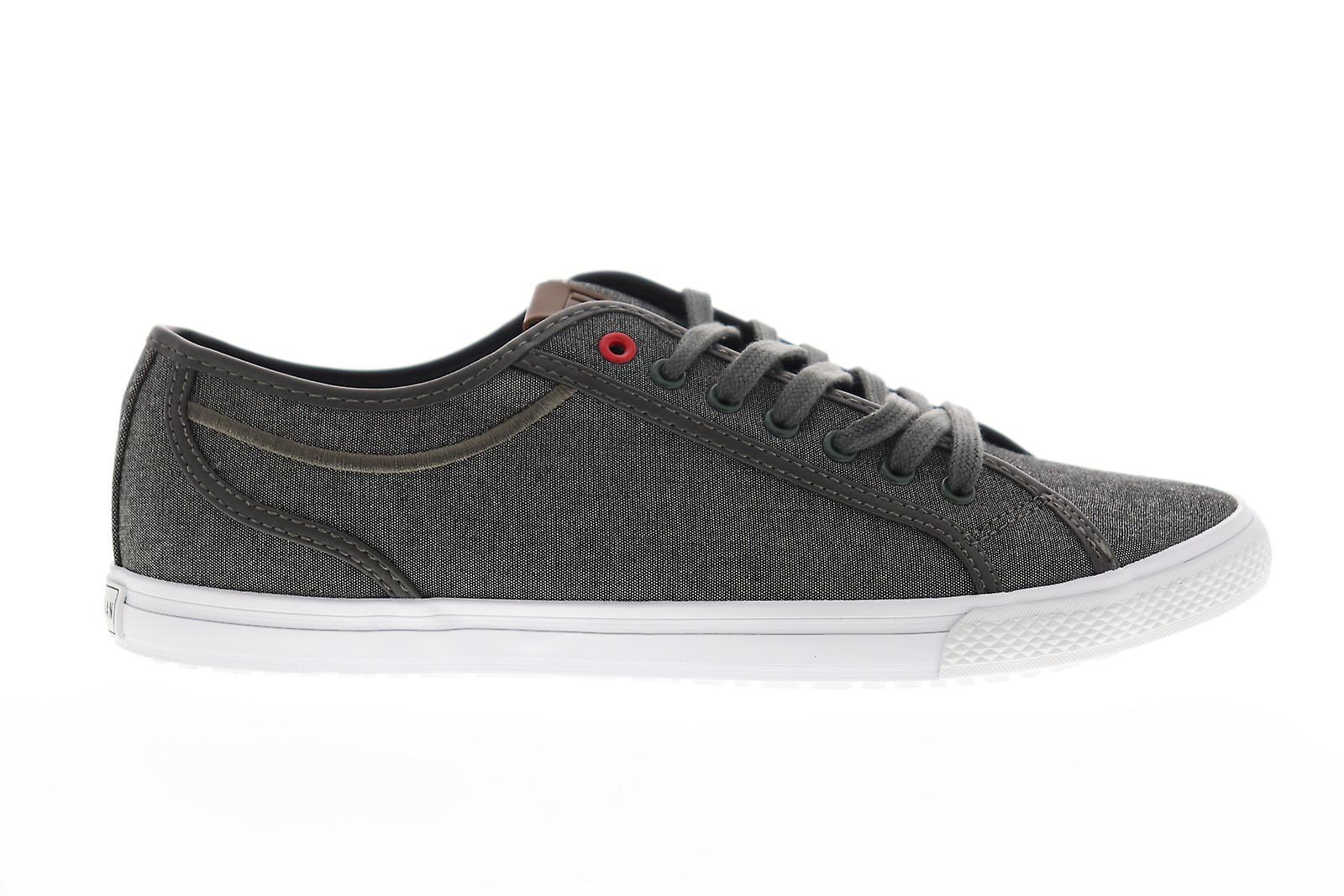Ben Sherman Conall LO Mens Grijs Canvas Lace Up Low Top Sneakers Schoenen bCgHQX