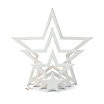 East of India Hanging Wooden Outline Star White Set of 4 Home Decoration