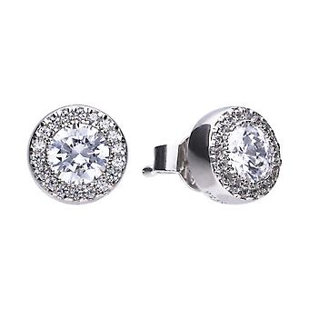Diamonfire E5591 Round Pave Halo Stud Earrings