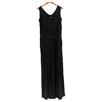 Lisa Rinna Collection Jumpsuits Solid Wide Leg Black A352109