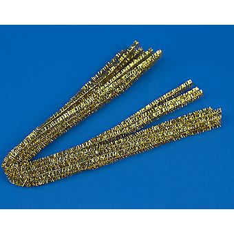 10 Gold 9mm Chunky Tinsel Extra lange 50cm Rohrreiniger | Glitter Pipecleaners