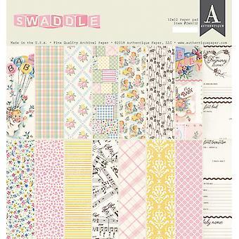 Authentique Swaddle فتاة 12x12 بوصة ورقة وسادة