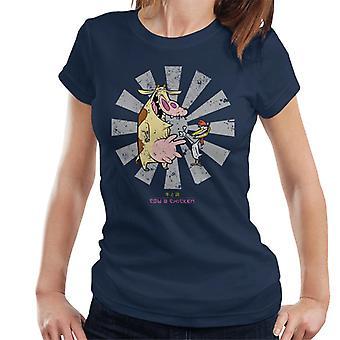 Lehmä ja kana retro japanilaiset naiset&s T-paita