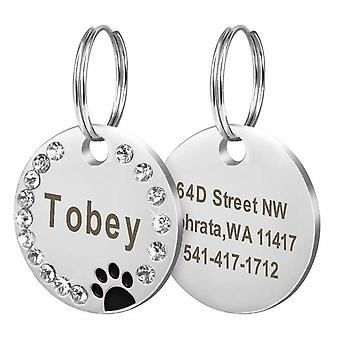 Dog Cat Personalized Anti Lost Engraved Collar Tag - Name ID Pendant for Pet