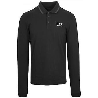 EA7 قميص بولو الأكمام الطويلة السوداء