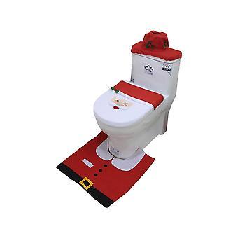 3pcs bad toalett sete dekke jul santa dekorasjon